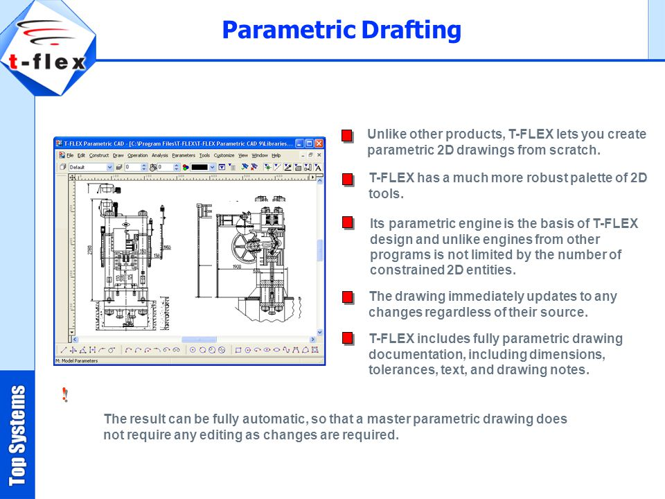 Parametric Drafting Unlike other products, T-FLEX lets you create parametric 2D drawings from scratch.