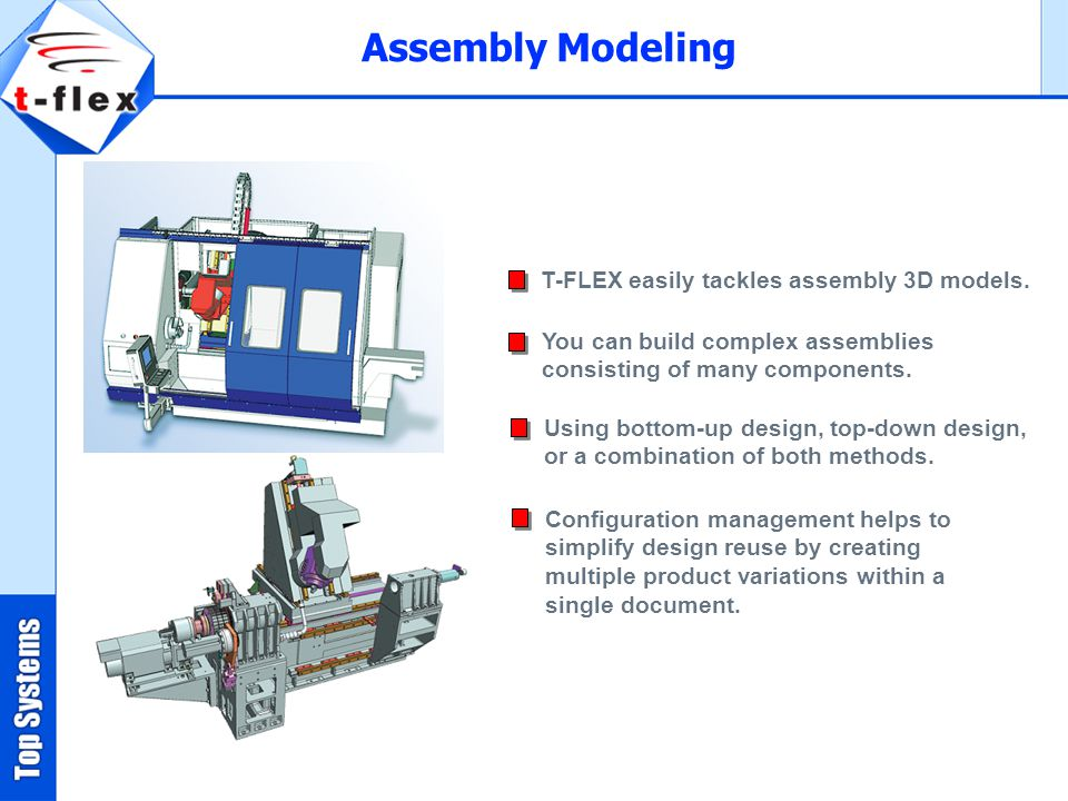 Assembly Modeling T-FLEX easily tackles assembly 3D models.