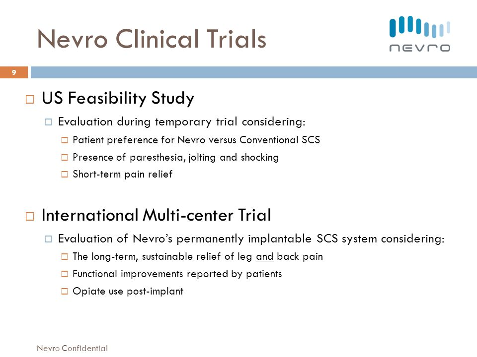Nevro Clinical Trials US Feasibility Study