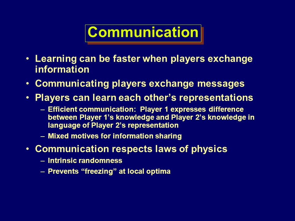 Communication Learning can be faster when players exchange information