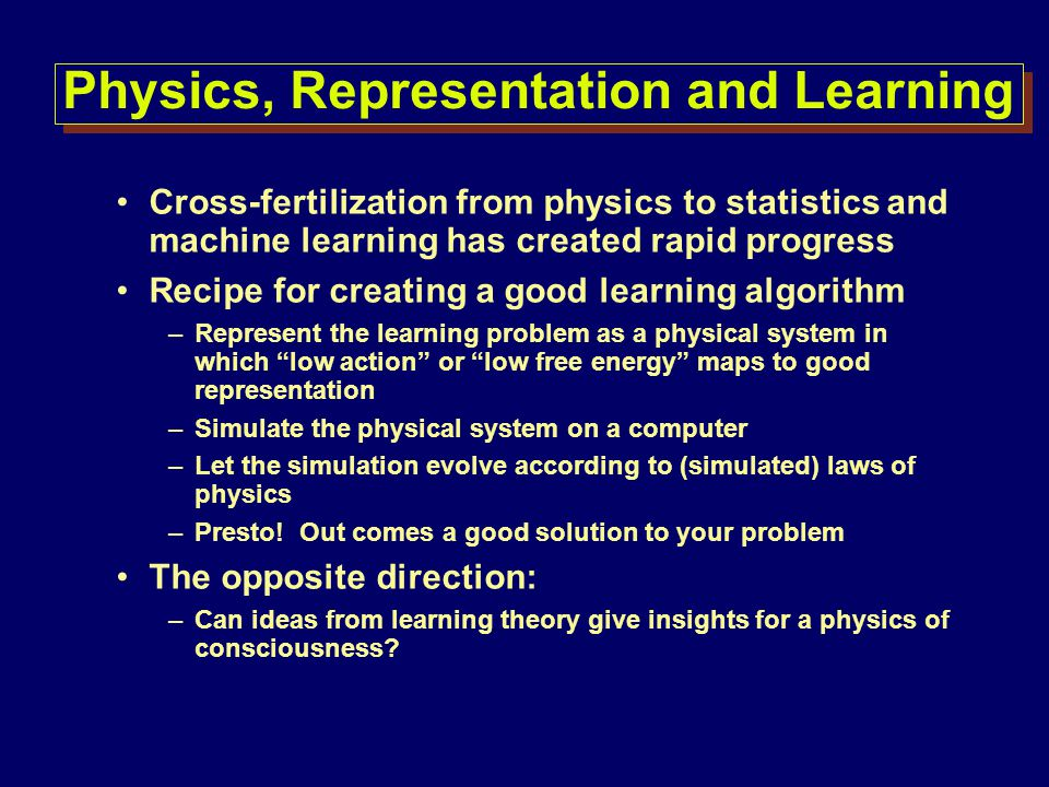 Physics, Representation and Learning