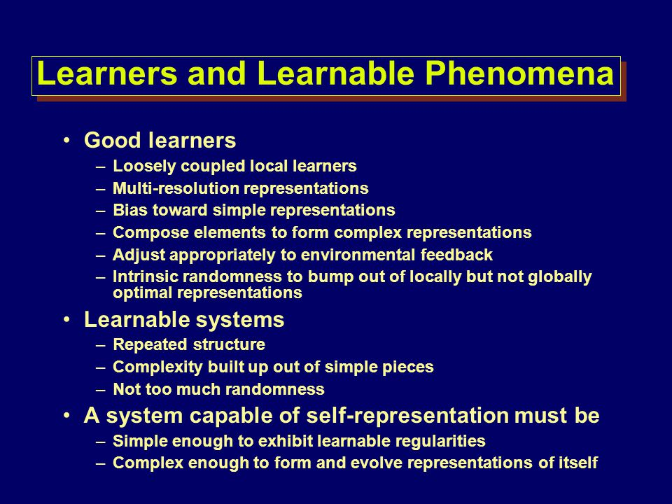 Learners and Learnable Phenomena