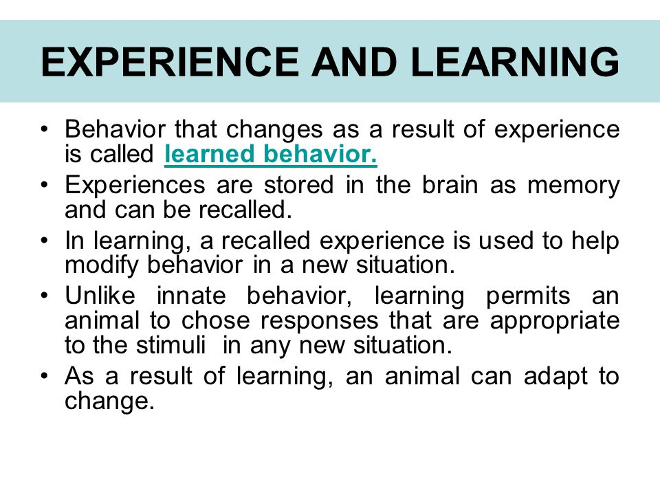 EXPERIENCE AND LEARNING
