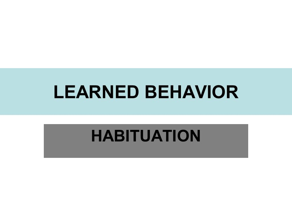 LEARNED BEHAVIOR HABITUATION
