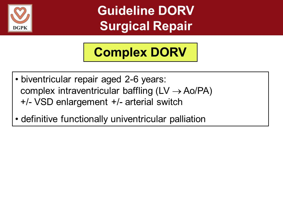 Guideline DORV Surgical Repair