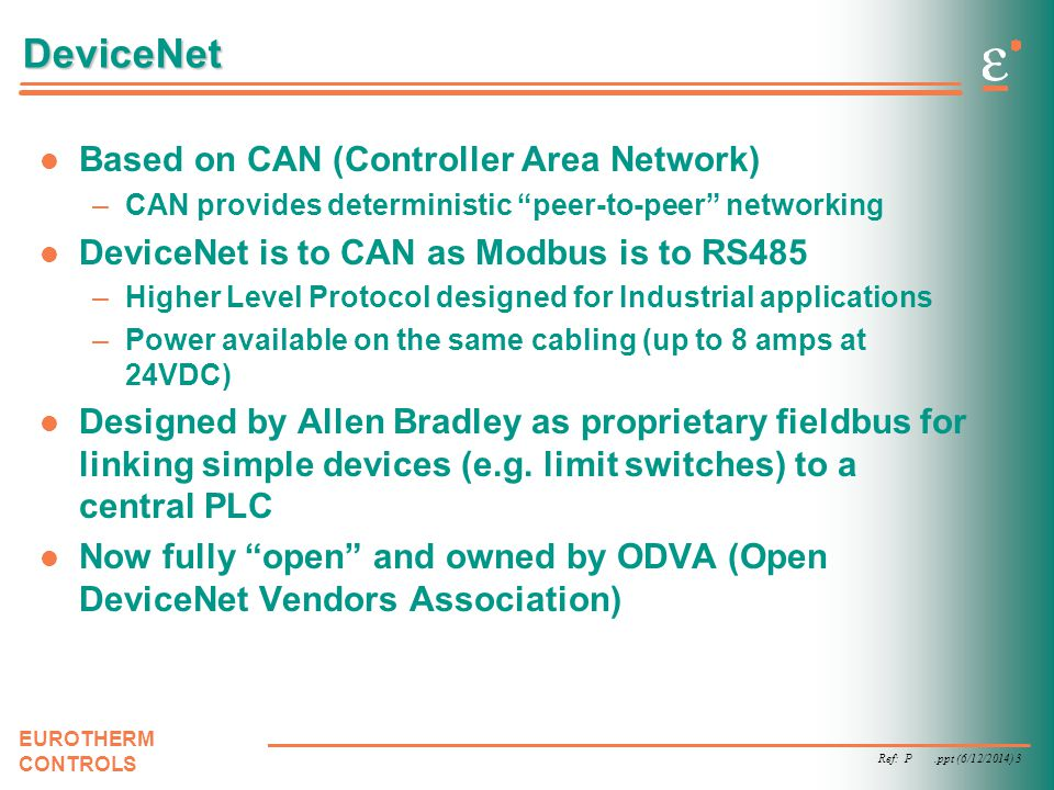 DeviceNet Based on CAN (Controller Area Network)