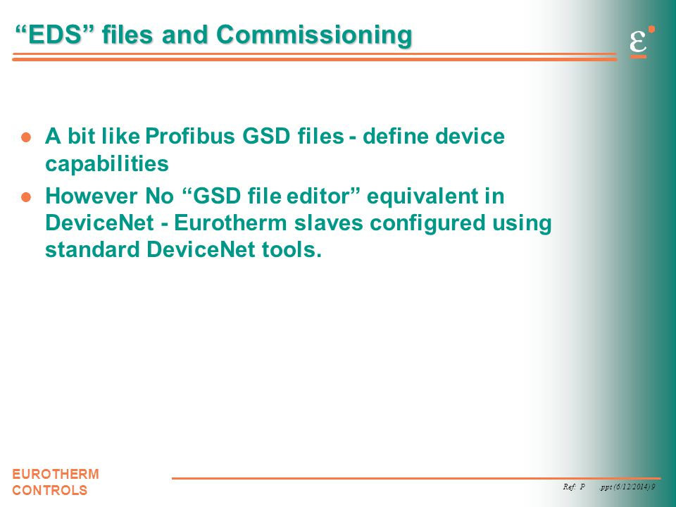 EDS files and Commissioning