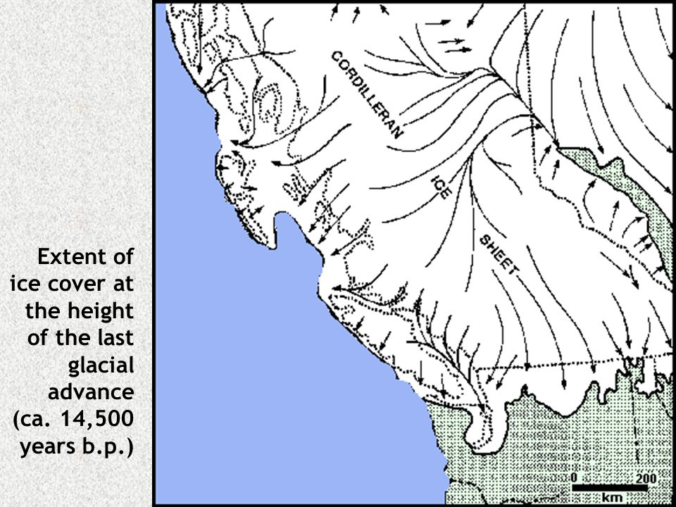 Extent of ice cover at the height of the last glacial advance (ca