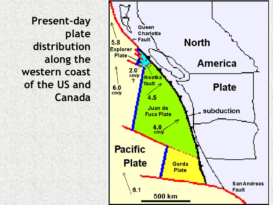 Present-day plate distribution along the western coast of the US and Canada