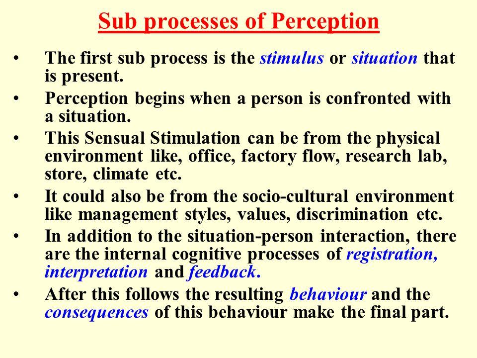 Sub processes of Perception