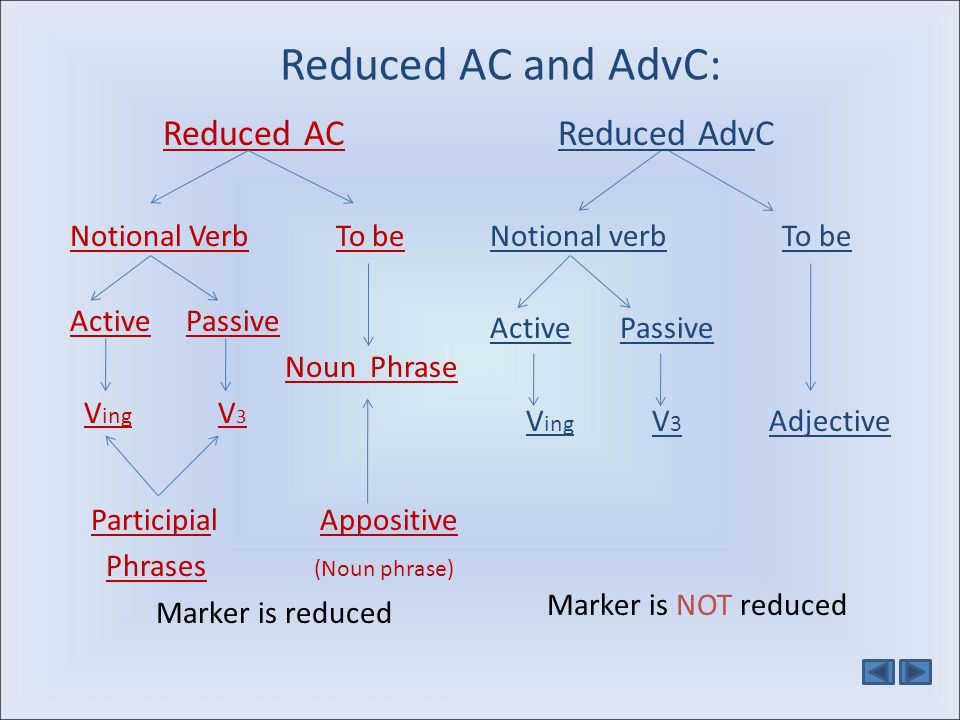 Reduced AC and AdvC: Reduced AC Reduced AdvC Notional Verb To be