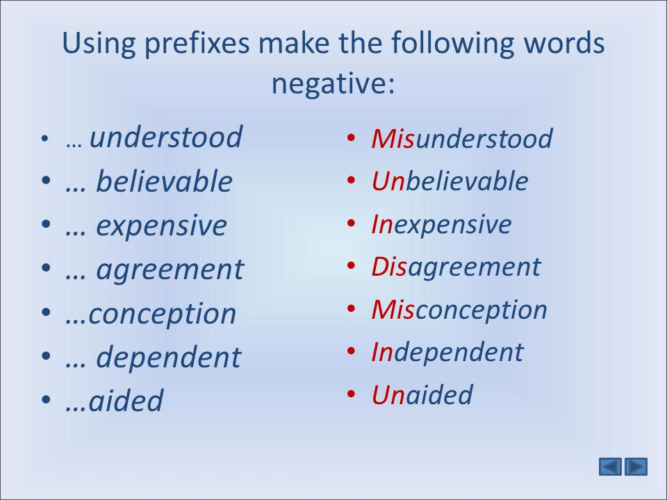 Using prefixes make the following words negative: