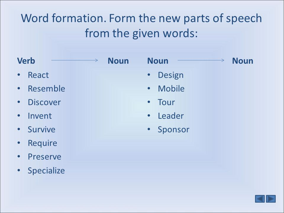 Word formation. Form the new parts of speech from the given words: