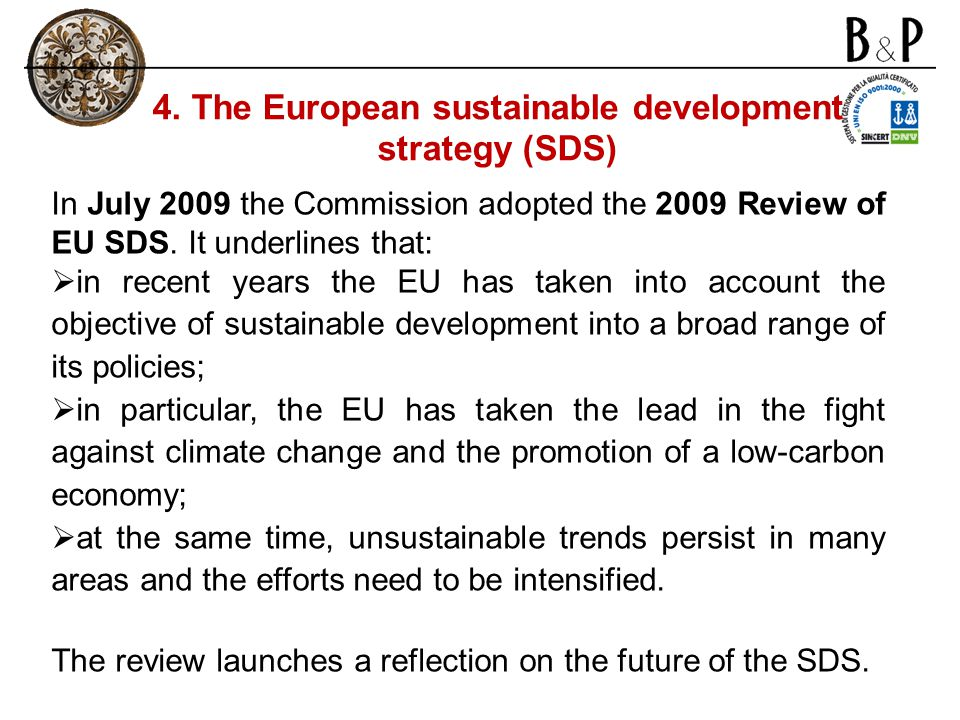 4. The European sustainable development strategy (SDS)