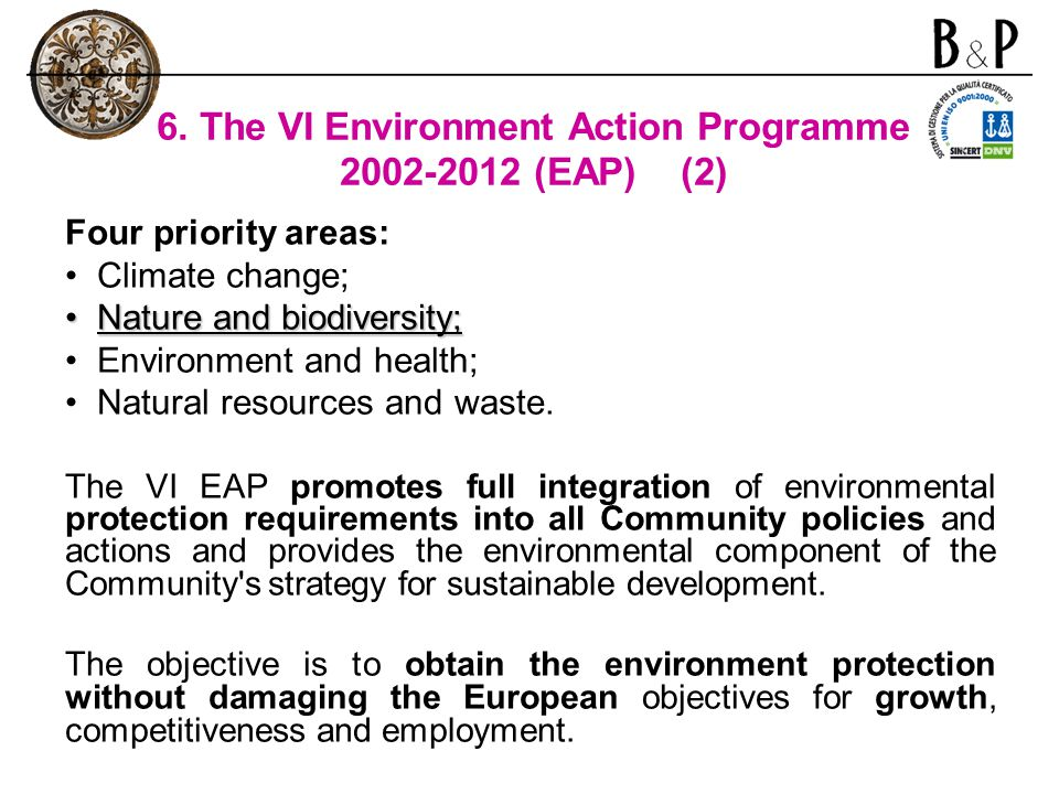 6. The VI Environment Action Programme