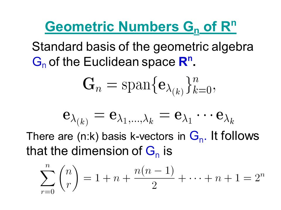 Geometric Numbers Gn of Rn