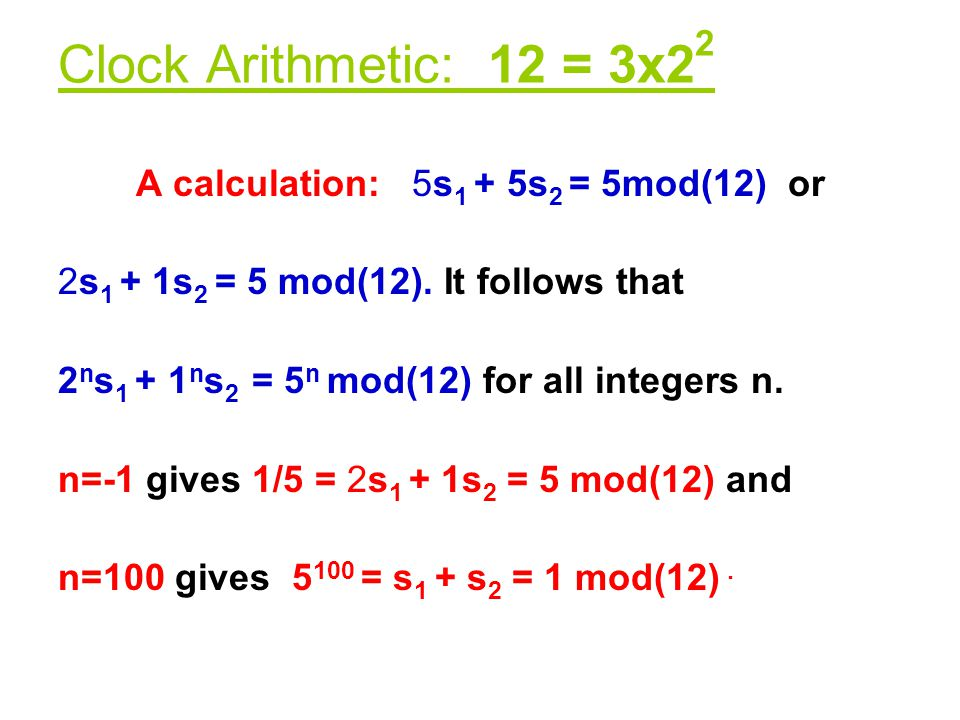 A calculation: 5s1 + 5s2 = 5mod(12) or