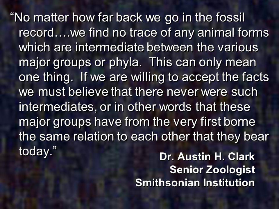 Dr. Austin H. Clark Senior Zoologist Smithsonian Institution