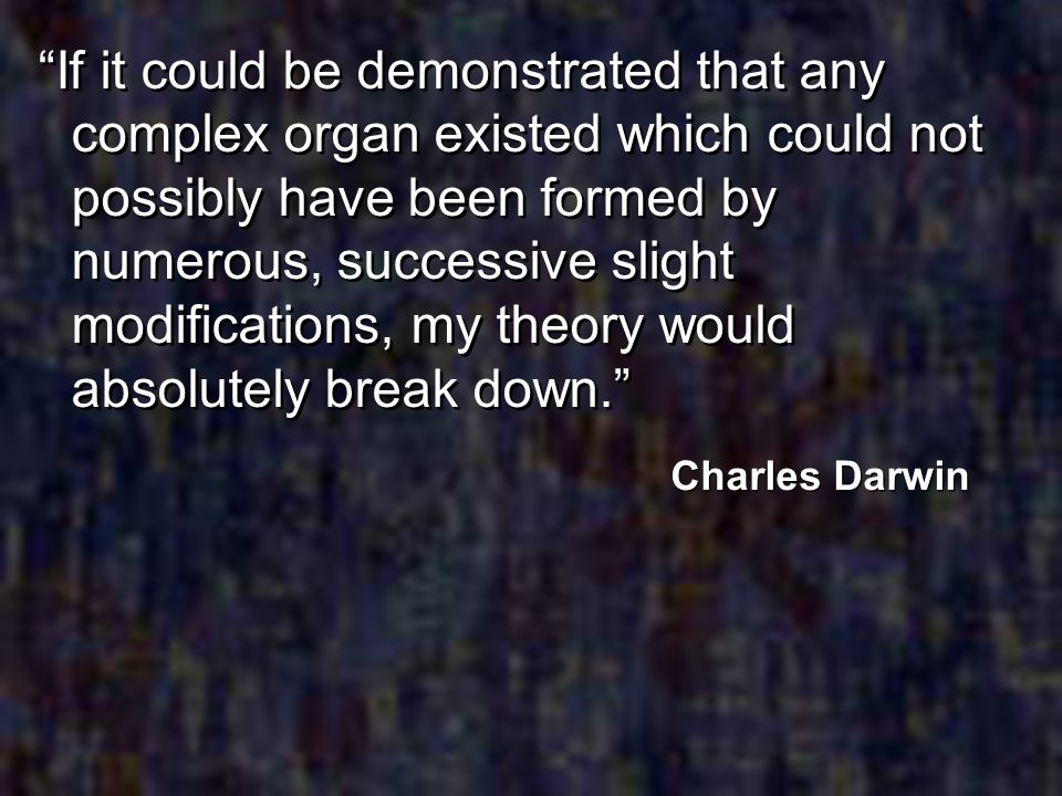 If it could be demonstrated that any complex organ existed which could not possibly have been formed by numerous, successive slight modifications, my theory would absolutely break down.