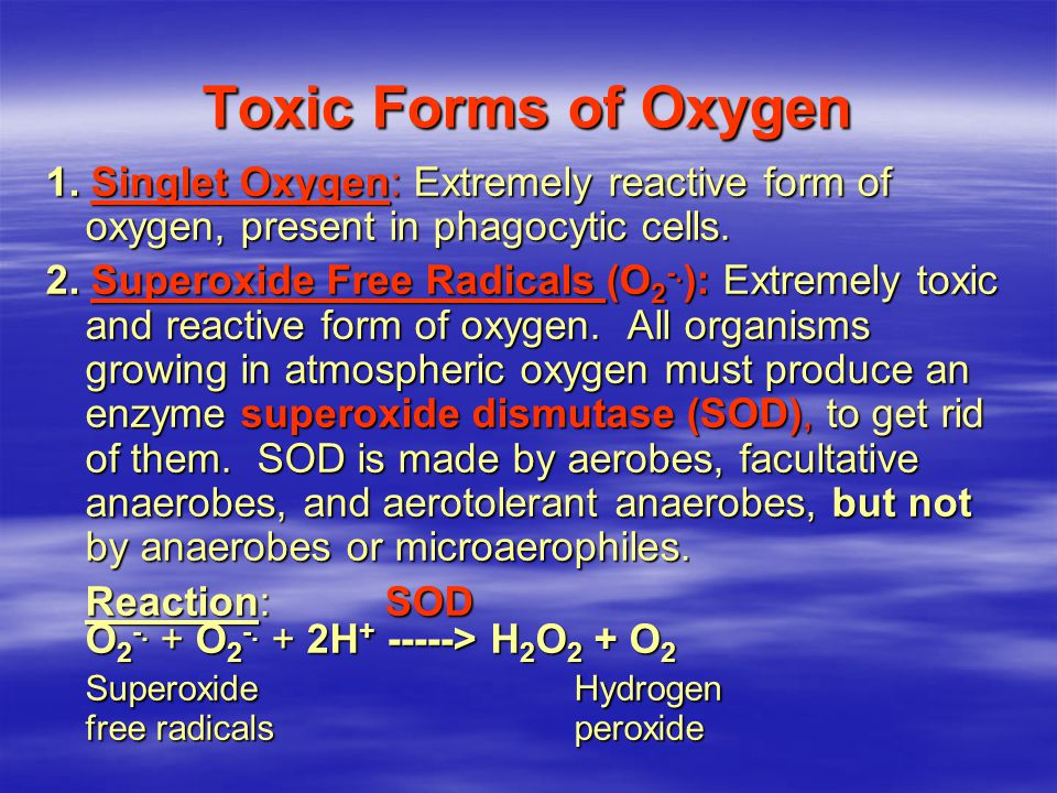 Toxic Forms of Oxygen Superoxide Hydrogen