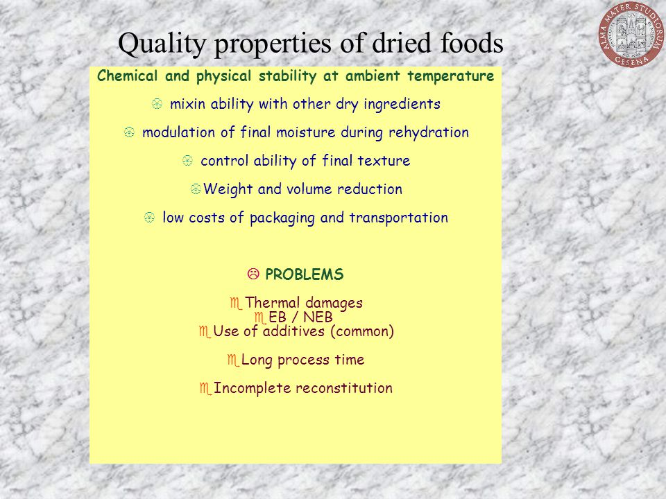 Quality properties of dried foods