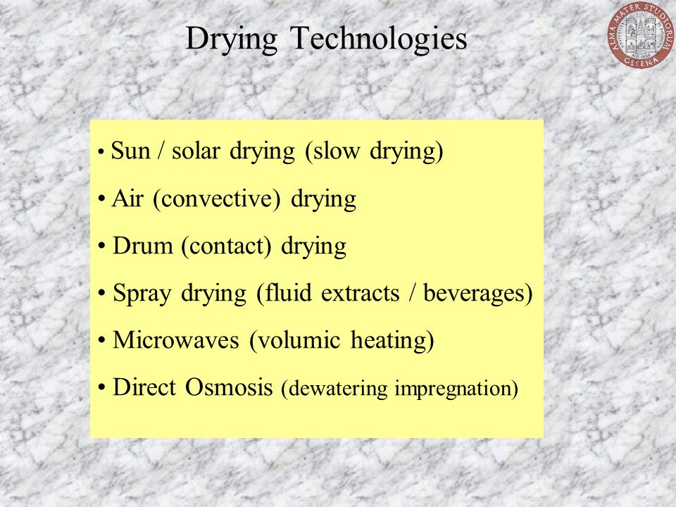 Drying Technologies Air (convective) drying Drum (contact) drying