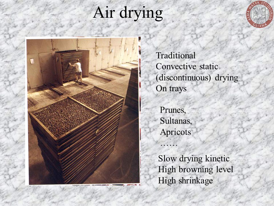 Air drying Traditional Convective static (discontinuous) drying