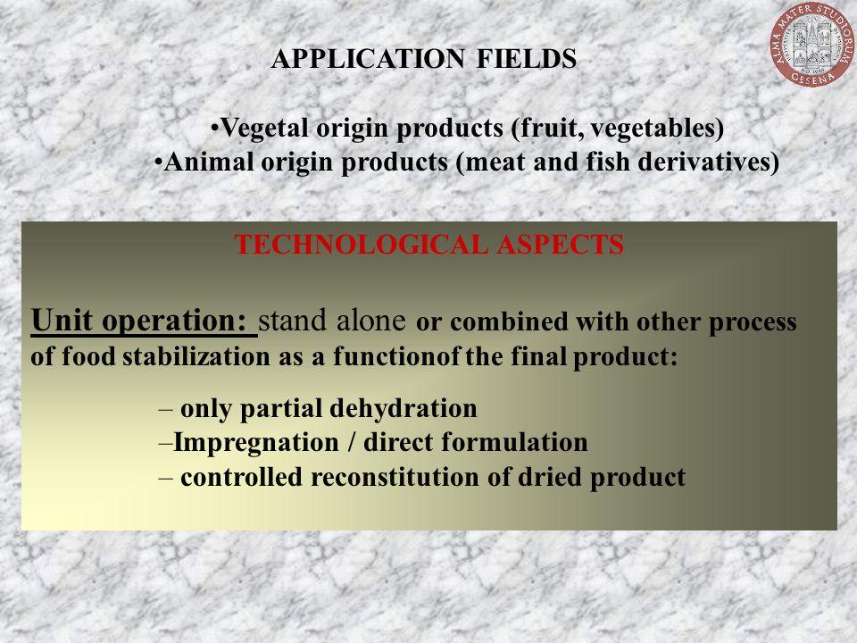 APPLICATION FIELDS Vegetal origin products (fruit, vegetables) Animal origin products (meat and fish derivatives)