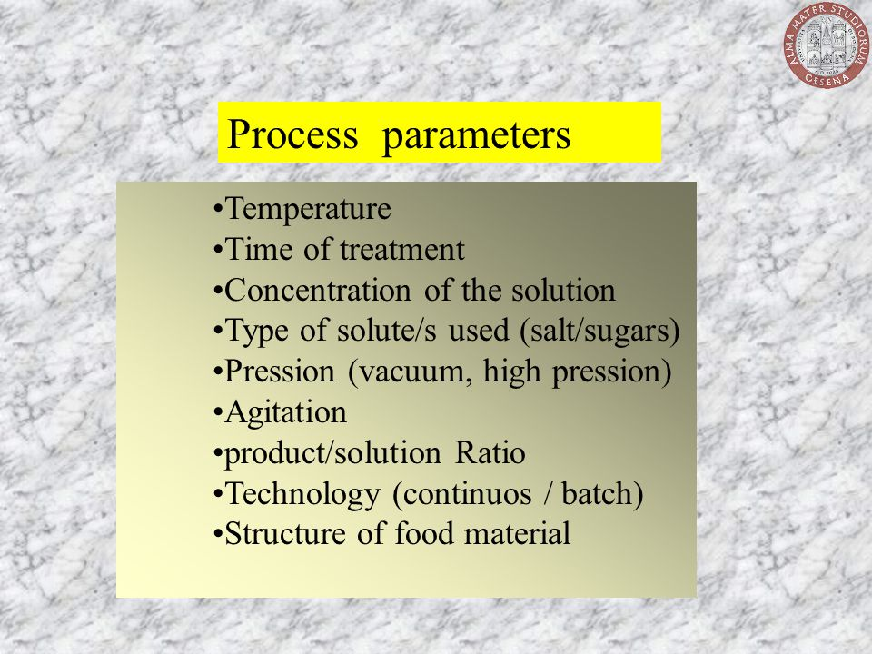 Process parameters Temperature Time of treatment