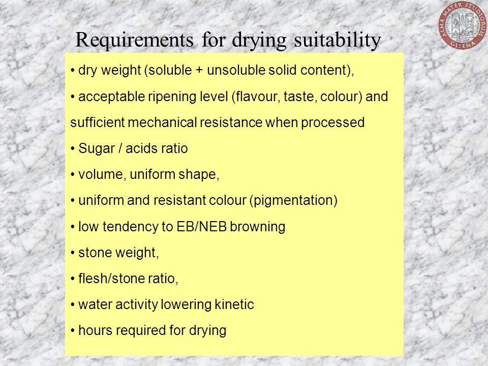 Requirements for drying suitability