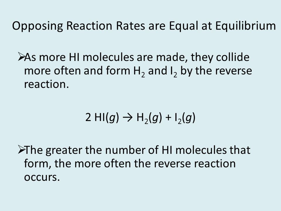Opposing Reaction Rates are Equal at Equilibrium