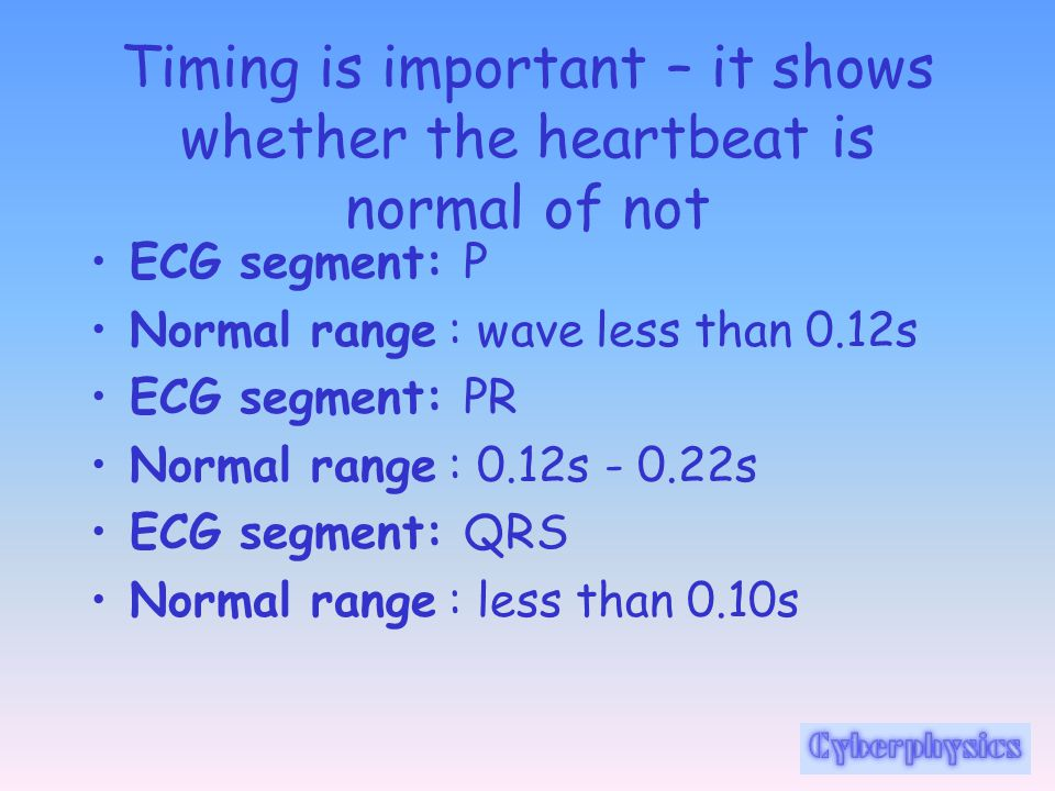 Timing is important – it shows whether the heartbeat is normal of not