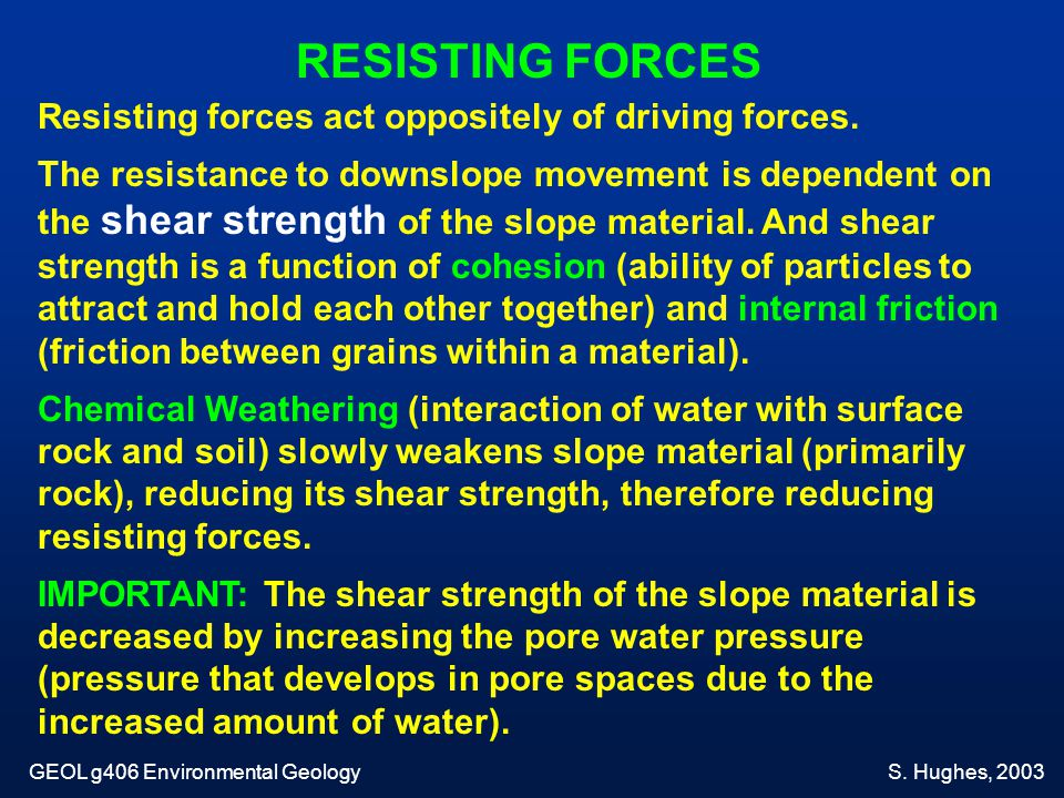 RESISTING FORCES Resisting forces act oppositely of driving forces.