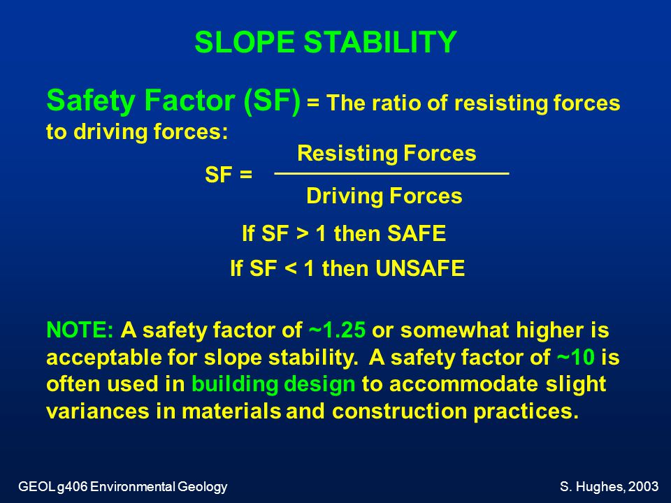 Safety Factor (SF) = The ratio of resisting forces to driving forces: