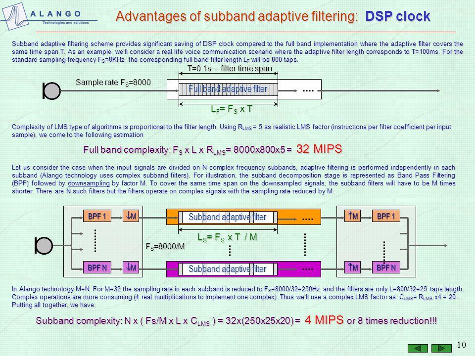 Advantages of subband adaptive filtering: DSP clock