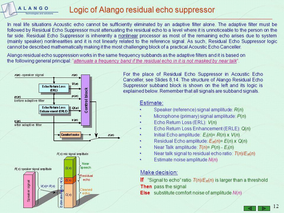 Logic of Alango residual echo suppressor