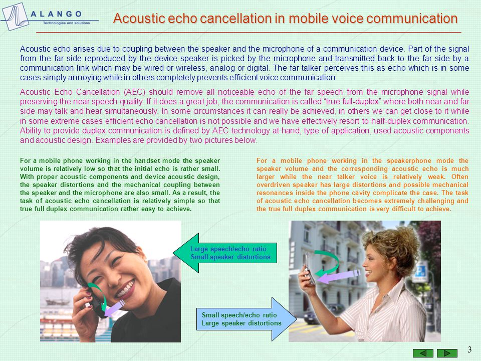 Acoustic echo cancellation in mobile voice communication
