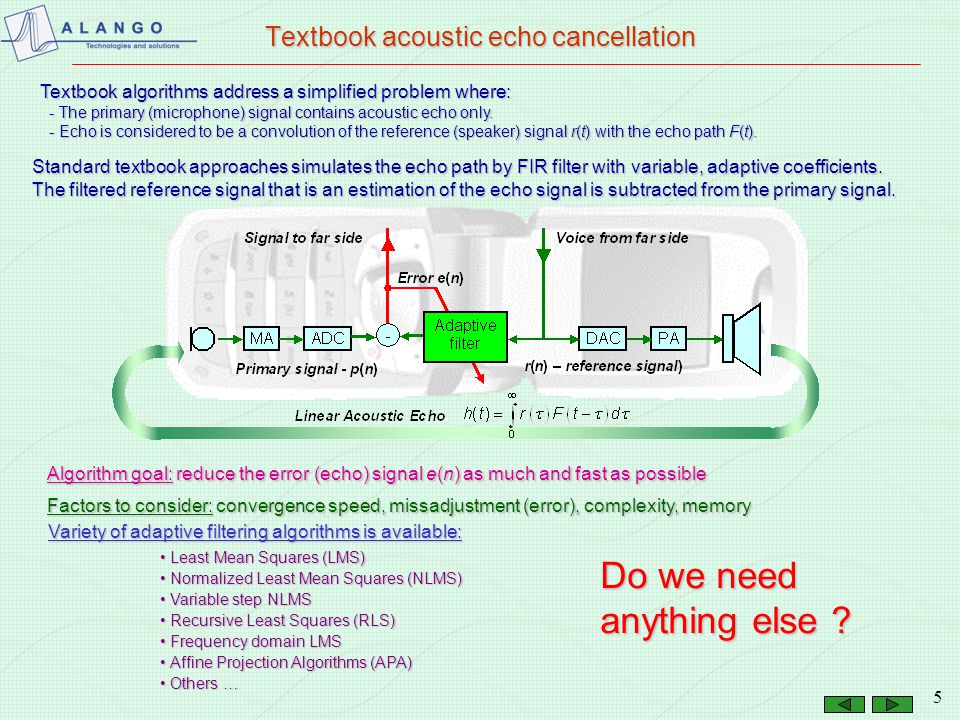 Textbook acoustic echo cancellation