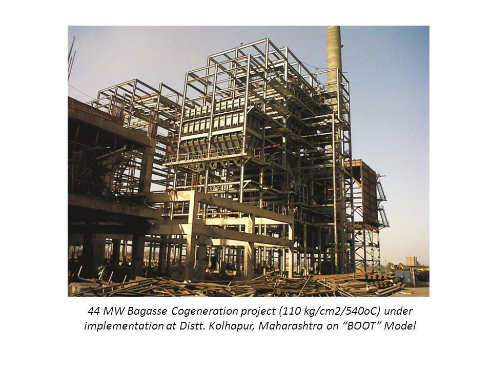 44 MW Bagasse Cogeneration project (110 kg/cm2/540oC) under implementation at Distt.