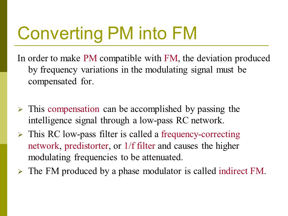 Converting PM into FM