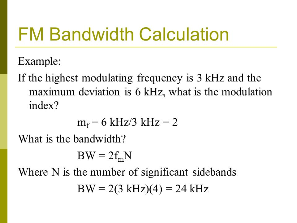 FM Bandwidth Calculation