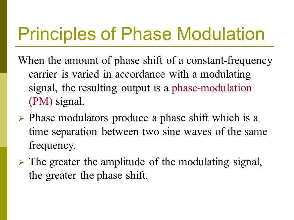 Principles of Phase Modulation