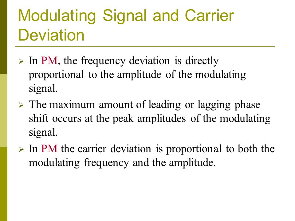 Modulating Signal and Carrier Deviation