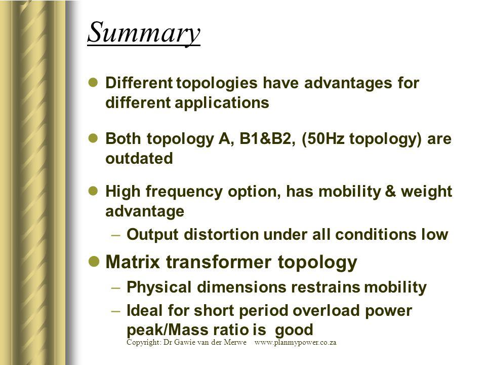 Summary Matrix transformer topology