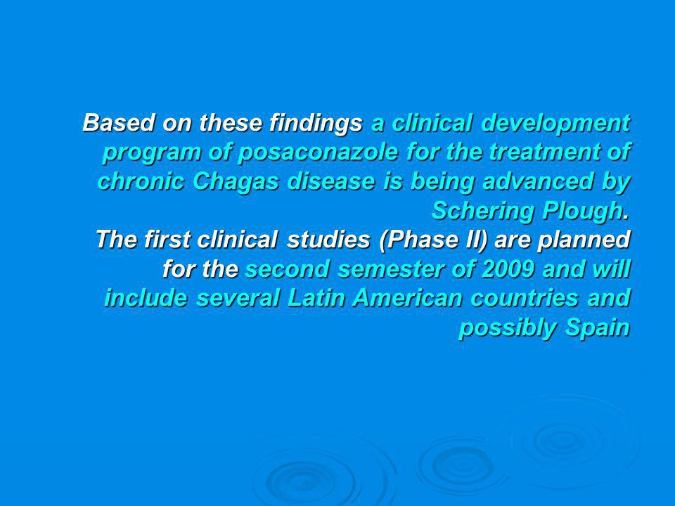 Based on these findings a clinical development program of posaconazole for the treatment of chronic Chagas disease is being advanced by Schering Plough.