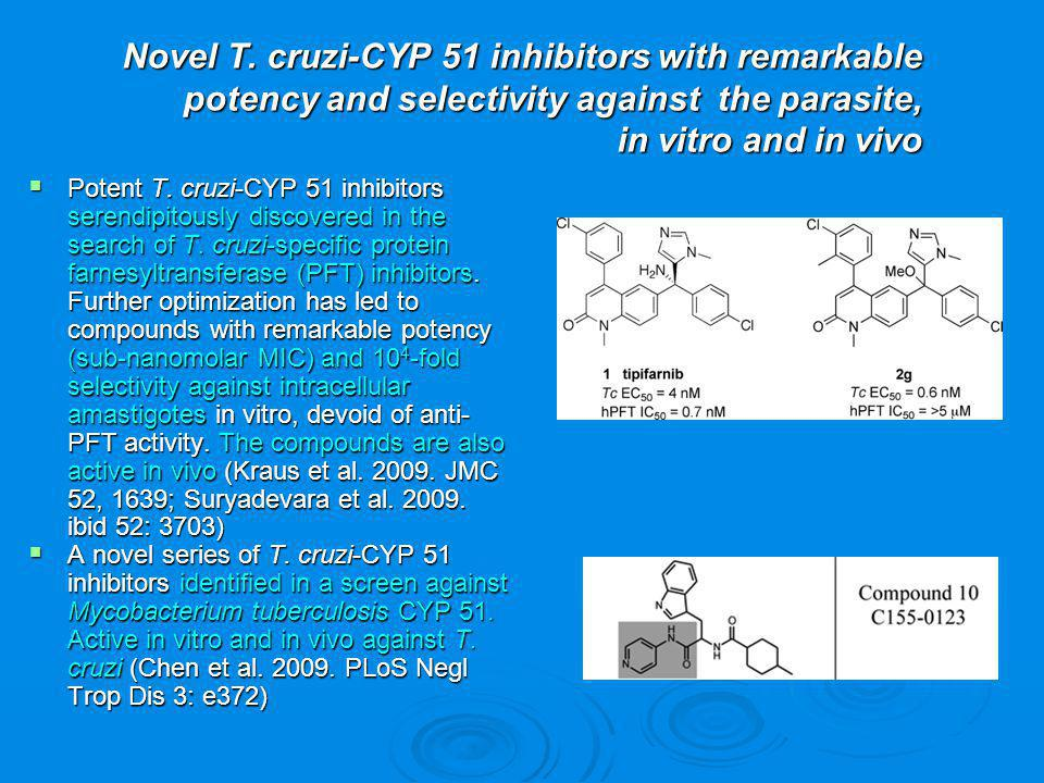Novel T. cruzi-CYP 51 inhibitors with remarkable potency and selectivity against the parasite, in vitro and in vivo