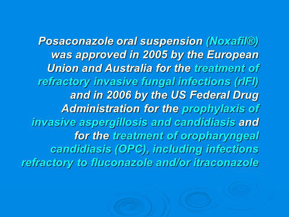 Posaconazole oral suspension (Noxafil®) was approved in 2005 by the European Union and Australia for the treatment of refractory invasive fungal infections (rIFI) and in 2006 by the US Federal Drug Administration for the prophylaxis of invasive aspergillosis and candidiasis and for the treatment of oropharyngeal candidiasis (OPC), including infections refractory to fluconazole and/or itraconazole