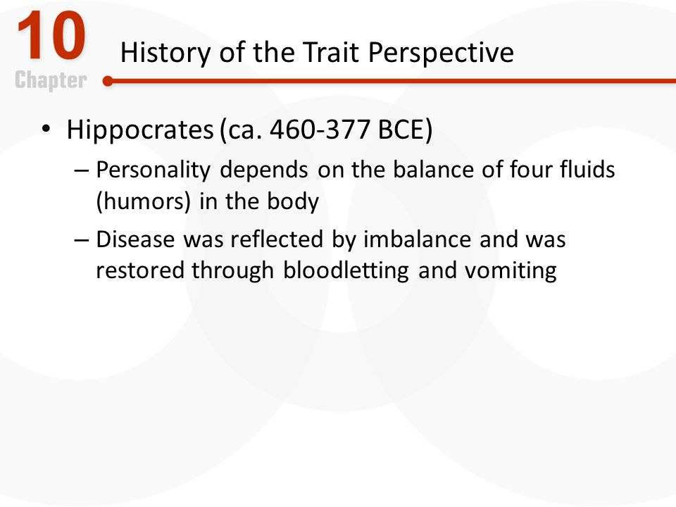 History of the Trait Perspective