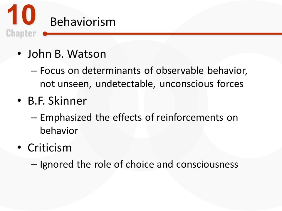 Behaviorism John B. Watson B.F. Skinner Criticism