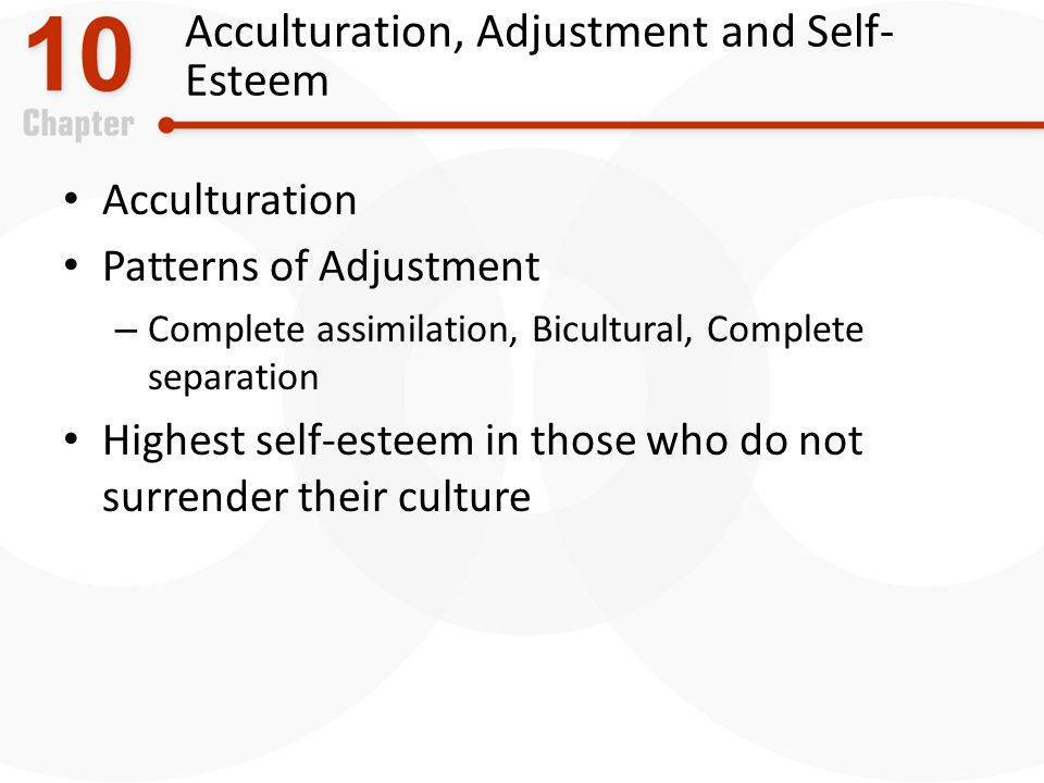 Acculturation, Adjustment and Self-Esteem